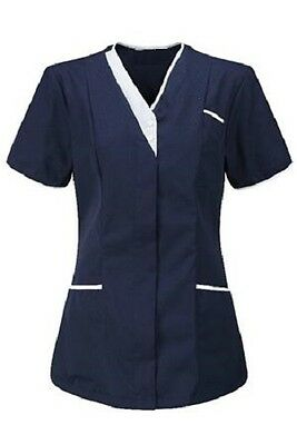 Womens Asymmetrical Healthcare Tunic, Dental Salon. Navy With White Trim Ins33Nv