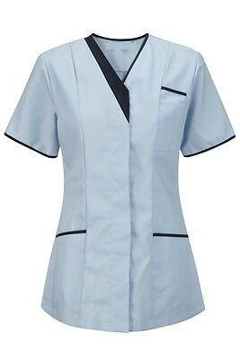 Womens Nurses Asymmetrical Healthcare Tunic Dental Salon. Sky/navy Trim. Ins33Sk