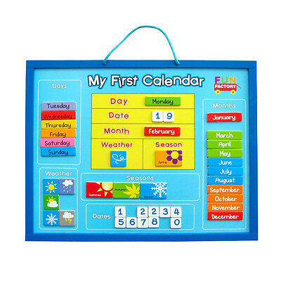 My First Calendar Wooden Magnetic Wall Hanging Chart Educational Toy