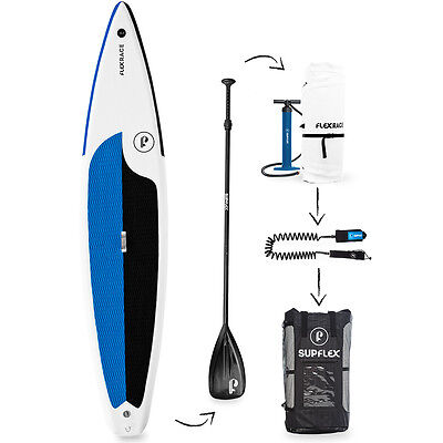 "Supflex FLEXRACE 12'6"" Inflatable Stand Up Paddle Board Complete iSUP Package"