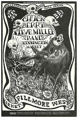 ORIGINAL BG-135 Postcard CHUCK BERRY, STEVE MILLER Fillmore West 1968 CONKLIN