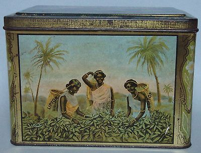 Gorgeous Large Lipton 3 Lb Advertising Tea Tin India Graphics Working In Fields
