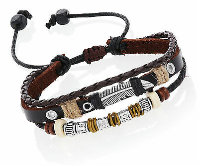 Fashion Leather Dark Brown Adjustable Bracelet with Feather and Charms.