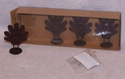Turkey Card Place Holders (4) Bronze Color - Perfect For Thanksgiving Table, Mib