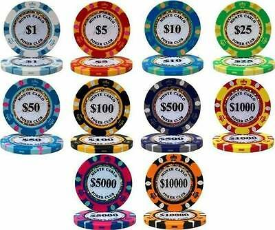 NEW 1000 PC Monte Carlo 14 Gram Clay Poker Chips Bulk Lot  - Pick Denominations