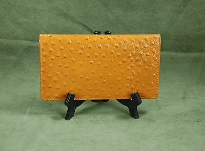 New Design Mohawk Light Tan Leather Ostrich Skin Embossed Checkbook Cover