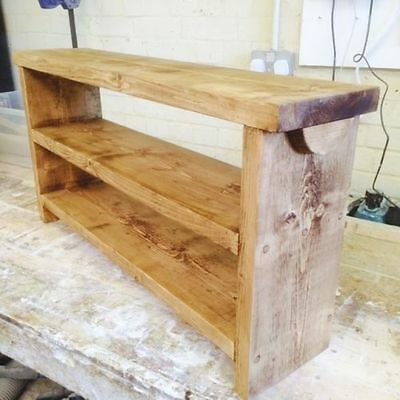 Handcrafted British Made Solid Wooden Bench / Pew With Double Shoe Shelf