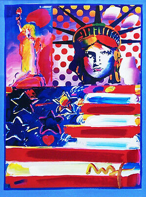 Hand Signed God Bless America II By Peter Max Framed Retail $8K