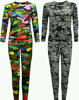 Kids Girls Army Camouflage Print Lounge Set 2 Piece Tracksuit Jogging Suit 5-13
