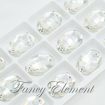 12pcs Glass Oval 3210 17x24mm Clear Crystal Sew On Rhinestones Flatback Jewelry