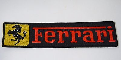 "FERRARI Iron-On Embroidered Automotive Patch 4.5"" x 1"" Strip"