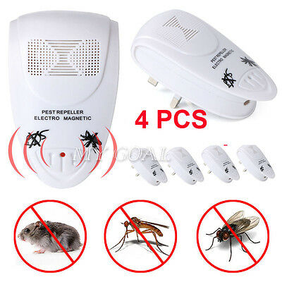 4Pcs Ultra Sonic Plug Spider Ant Repeller In Mice Mouse Rodent Rat Pest Control