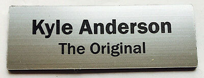1 x Silver 60x20mm Name Badge Tag with Pin Fastener FREE Post