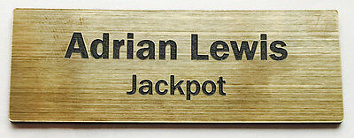 1 x Brushed Gold 60x20mm Name Badge Tag with Pin Fastener