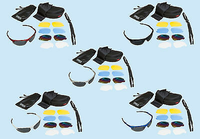 CHEX Ace Cricket Sunglasses Sportsglasses 5 Lens Sets Inc Tinted Blue & Mirrored
