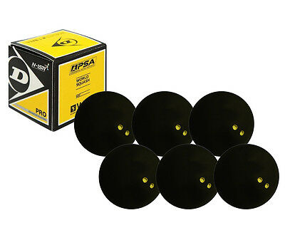 6 x Dunlop Pro Squash Balls Double Dot Yellow - WSF & WSA & PSA Official Ball