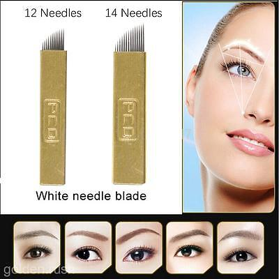 50 PCD 12/14Pin Microblading Blade Permanent Makeup Eyebrow Manual Tattoo Needle