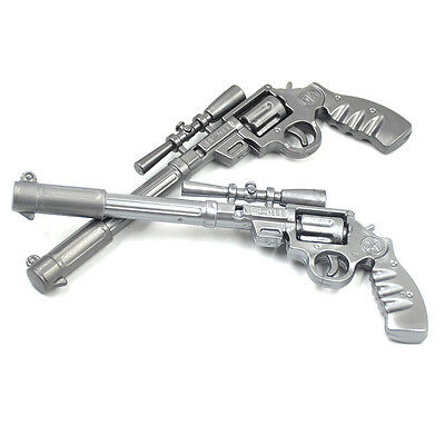 2 Pcs Silver Gun Pistol Shaped Ballpoint Pen Collectors Novelty Kids Boys New