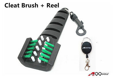A99 Golf Cleaning Brush Golf Shoes Cleat Cleaner Scrubber + Retractable Reel