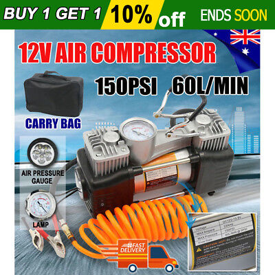 150PSI 60L Air Compressor  4WD Car Tyre Inflator Portable Kit  Pressure Pump 12V