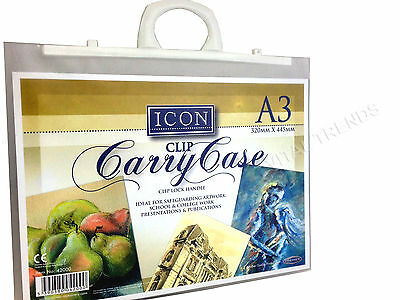 A3 Carry Case Portfolio Display Book Clip Lock Handle Drawing Artist Work