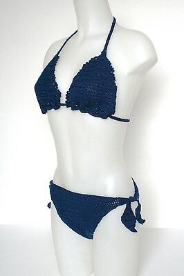Vintage Knitted Bikini Swimsuit - 1960s - Blue Cotton - UK 8  / 10 (B Cup)