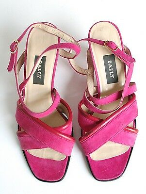 UK 5 (Narrow) Bally Vintage Sandal Shoes - Pink Suede Leather - 1990s - 38