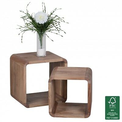WOHNLING Acacia bois massif table d'appoint gigognes ensemble de 2 cube NEUF
