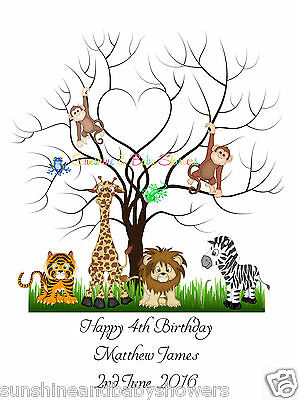 Finger Print Tree JUNGLE ANIMALS Birthday PERSONALISED A3 OR A4 INCLUDES INK