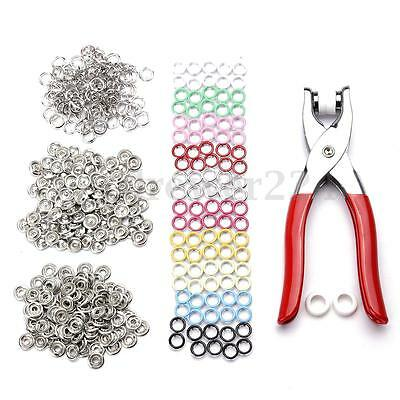9.5mm 100pcs Prong Pliers Ring Press Studs Snap Popper Fasteners Silver DIY Tool