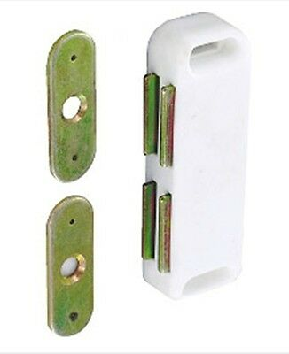 Securit Twin Magnetic Catch Cupboard White Easy Close Open Magnet Secure