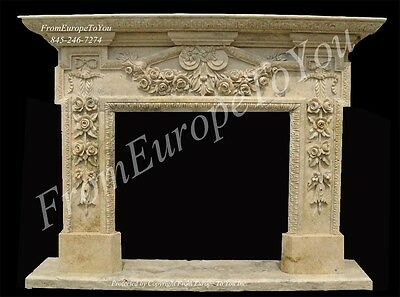 Beautiful Hand Carved Marble Fireplace Mantel Js200