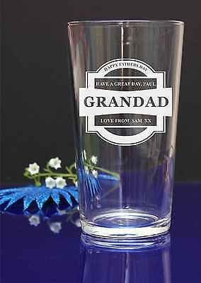 Happy Fathers Day personalized glass gift, present GRANDAD have a great day 39