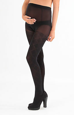 New Emma Jane 551 Black 60 Denier Patterned Supersoft Maternity Tights M/l