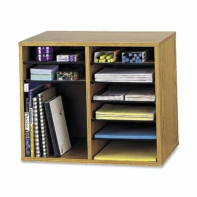 Home Office File Folder Wood Adjustable Book Shelf Organizer Storage Box 12 Slot