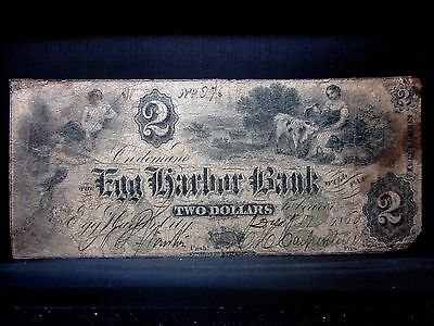 1860 $2 Obsolete Bank-Note ✪ Egg Harbor Bank ✪ City New Jersey Nj ◢Trusted◣