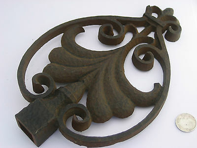 Old Auth Antique Cast Iron Fleur De Lis Scroll Cap Finial Architectural Salvage