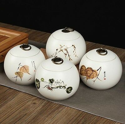 4pc Hand-painted ceramic tea caddy Ceramic Canister Buckle seal tea box