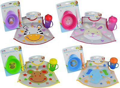 First Steps Weaning Jungle Pals Bpa Free Set Bowl Spoon Bib Spill Proof Cup