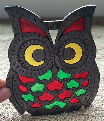 Vintage Owl Trivet Cast Iron Stained Glass Effect Red Green Yellow Color Decor