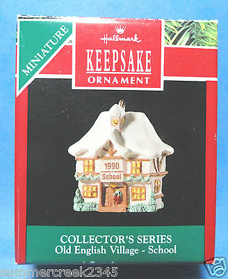 "Hallmark ""Old English Village School"" Miniature Ornament 1990"