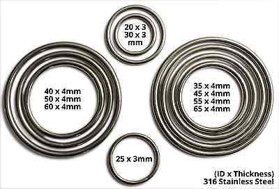 Welded metal O Ring. 316 (A4 Marine) Stainless Steel Rings.
