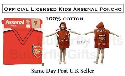 Kids Poncho Arsenal Fc Football Club Emirates Cotton Hooded Bath Beach Towel