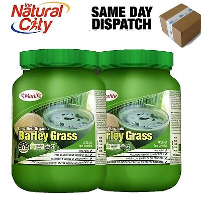 Morlife Organic Barley Grass Powder 1Kg x 2 +Free Smart Shaker Valued $15