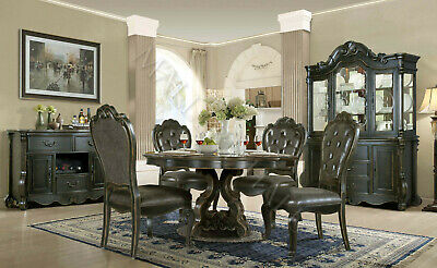 Distressed Carved Rectangle Dining Table With Chairs Solid Hardwood