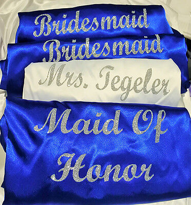 NEW 3-12 Bridal Wedding Bride Bridesmaid Dressing Gowns Satin Robes Personalised
