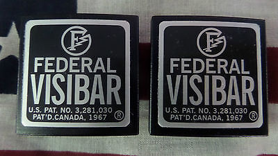 New Pair Federal Visibar Twin Beacon Ray Aluminum End Cap's with Foil Labels