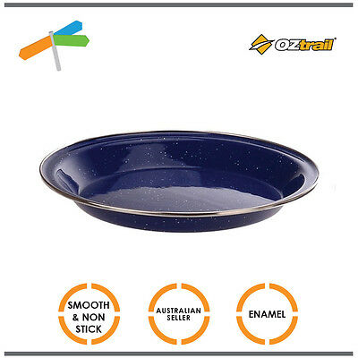 Set of 4 X OZtrail Enamel Coated Steel Pie Dish Plate 24cm Camping Picnic