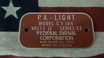 Federal Signal  Model CJ184 Series E2 P.A. Light Replacement Badge
