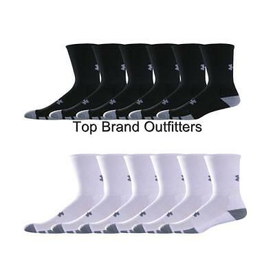 6 Pair Mens Under Armour Resistor Crew Socks White Black Medium Large XL